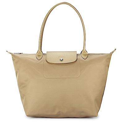 Longchamp 厚尼龍中型長柄水餃包-淺金色