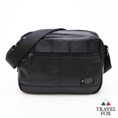 Travel-Fox旅狐包-輕巧商務雙料防潑水帆布側背包-黑