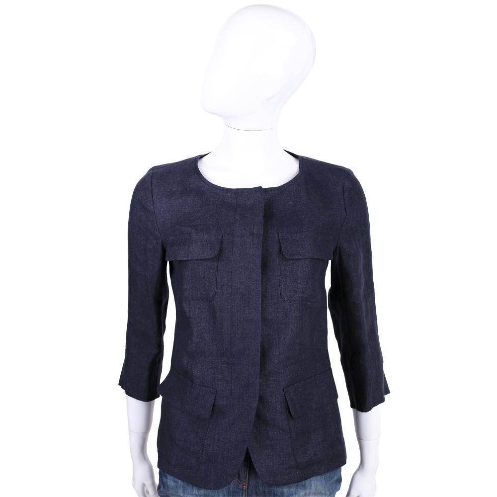 Max Mara-WEEKEND 深藍色亞麻七分袖外套