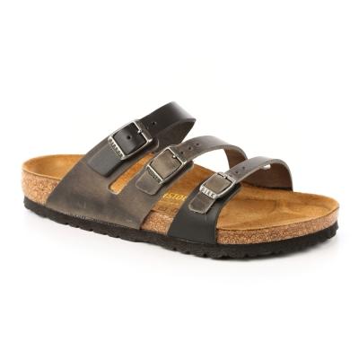 勃肯BIRKENSTOCK 086961。佛羅里達 三條復古拖鞋(鐵灰)