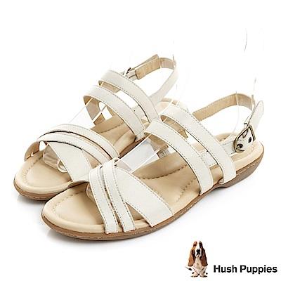 Hush Puppies DACHSHUND 舒適減壓羅馬涼鞋-米白
