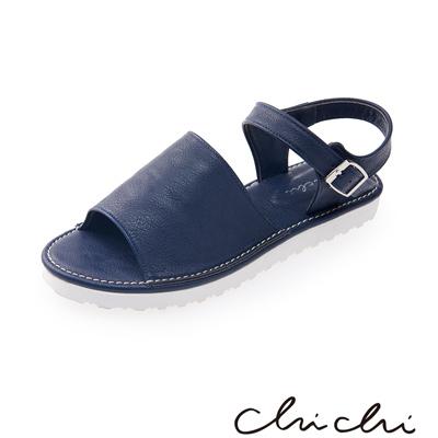 Chichi 寬帶側扣環厚底涼鞋*藍色