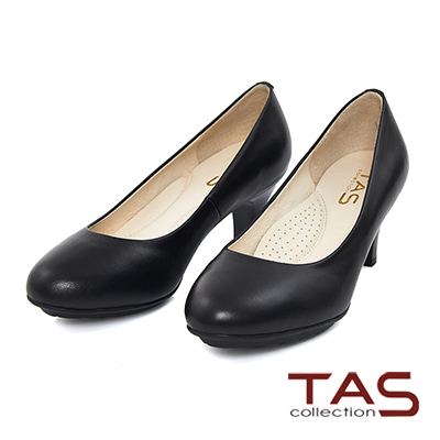 TAS-素面質感羊皮圓頭高跟鞋-高貴黑