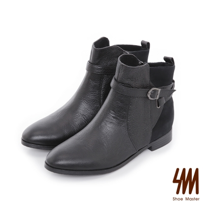 SM-台灣全真皮-率性皮帶平底粗跟短靴-黑色
