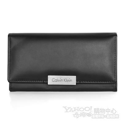 Calvin Klein 黑色全皮極簡風格多卡設計釘扣長夾