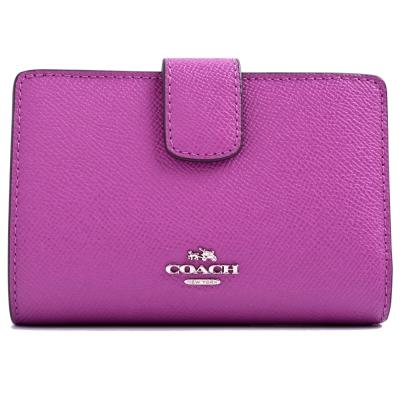 COACH-立體金馬車防刮皮革釦式中夾-薰衣草紫