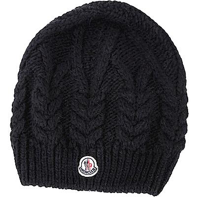 MONCLER 經典徽章麻花羊毛針織帽(黑色)