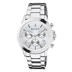 ELIXA ENJOY金屬系列銀框 三眼錶盤 銀色金屬錶帶38mm