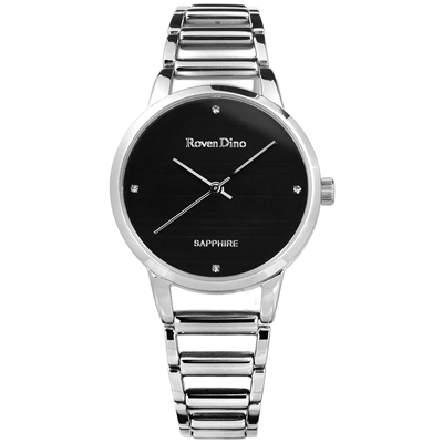 Roven Dino 時尚晶鑽橫紋藍寶石水晶鏤空手錶-黑色/30mm