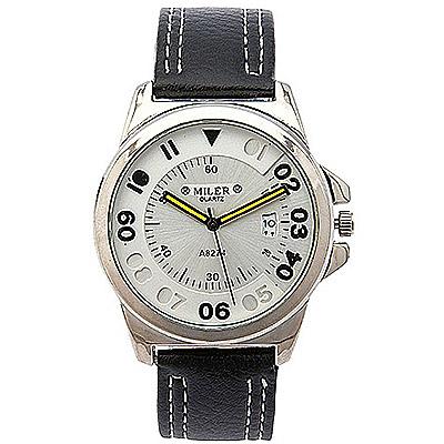 Watch-123 雙色個性鏤空刻度日曆時尚手錶-黑色/40mm