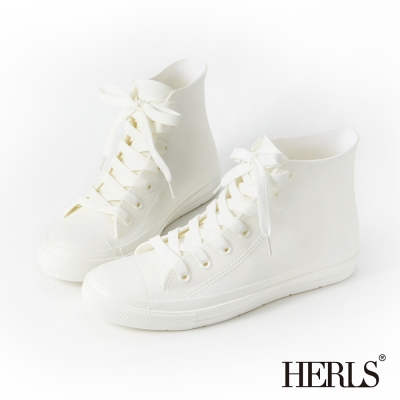 HERLS-雨季必備-帆布款高筒綁帶雨鞋-白色