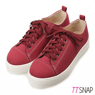 TTSNAP帆布鞋-MIT素面繫帶真皮厚底增高休閒鞋 紅