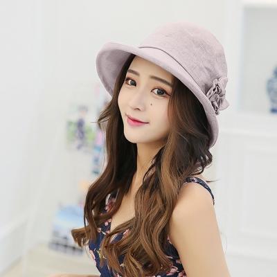 幸福揚邑 韓防曬抗UV大帽檐捲邊棉麻可摺疊遮陽帽花朵漁夫帽-粉紫