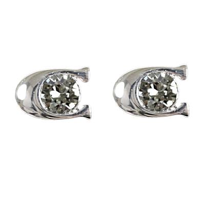 COACH C LOGO鑲鑽耳環.銀
