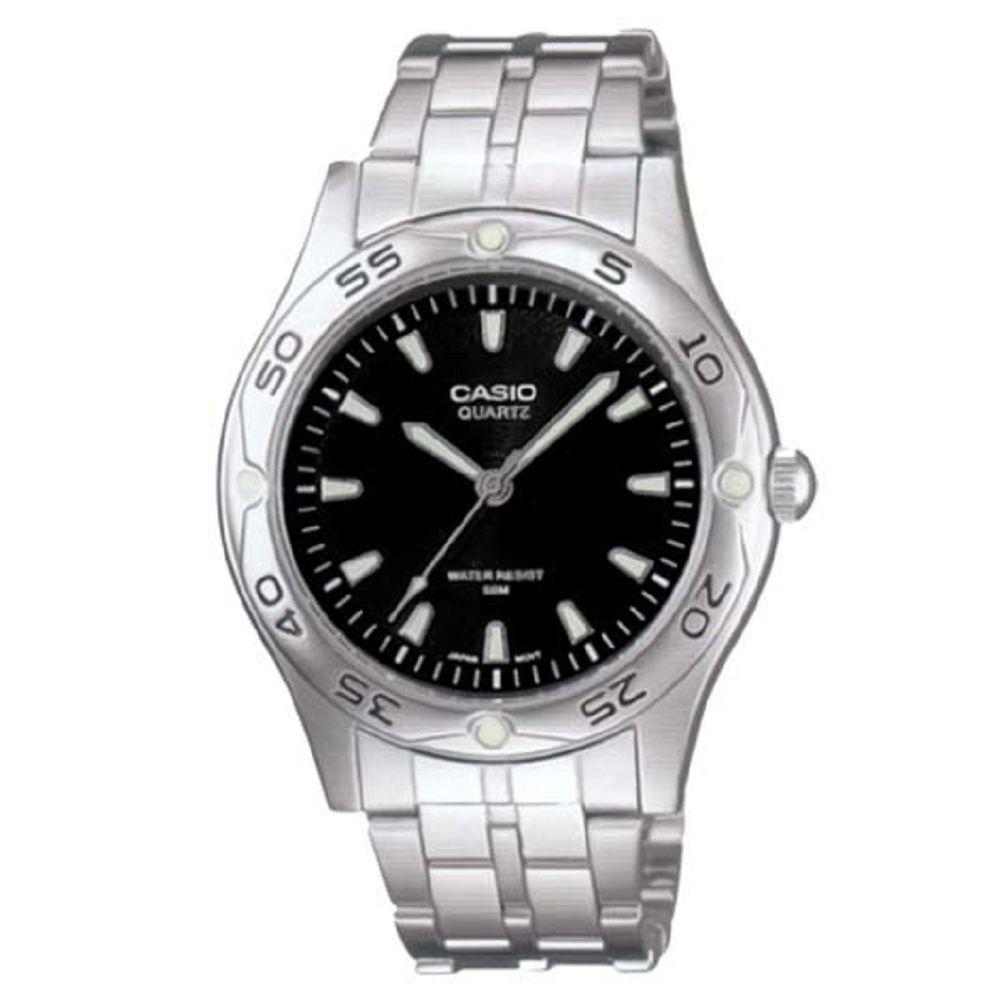 CASIO 時刻夜光時尚不鏽鋼腕錶(MTP-1243D-1A)-黑面/40mm