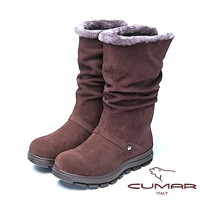 CUMAR冬季時尚 舒適真皮兩用厚底雪靴-咖啡