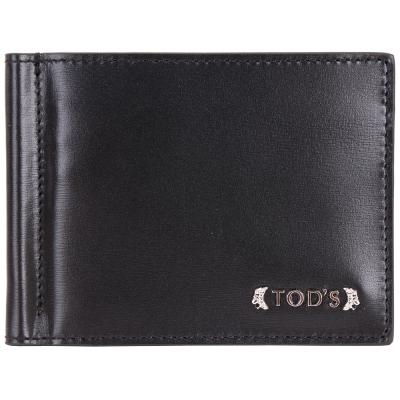 TOD'S Billfold 金屬鈔票夾小牛皮對折短夾(黑色)