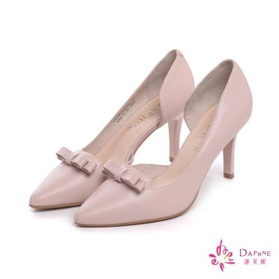 達芙妮DAPHNE-都會首選側空蝴蝶結尖頭高跟鞋-甜美粉紅