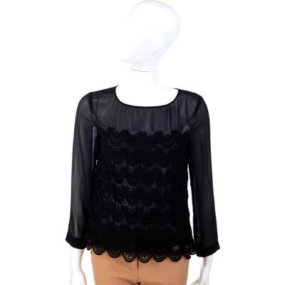 PHILOSOPHY-AF 紗質拼接織花長袖上衣(黑色)