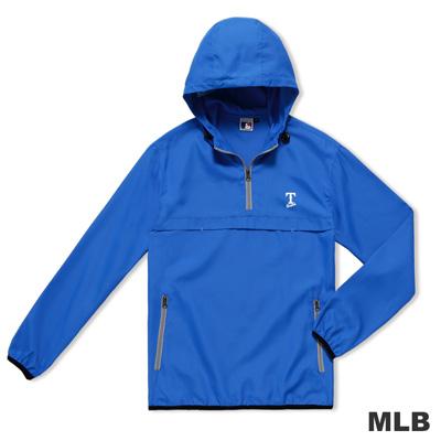 MLB-德州遊騎兵隊雙側拉鍊口袋連帽防風長T-藍色(男)