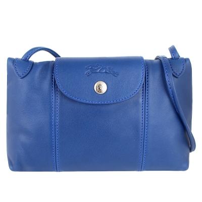 Longchamp Le pliage Cuir小羊皮輕巧斜背包(藍色)