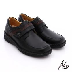 A.S.O 抗震雙核心 全真皮壓紋魔鬼氈奈米休閒鞋 黑色