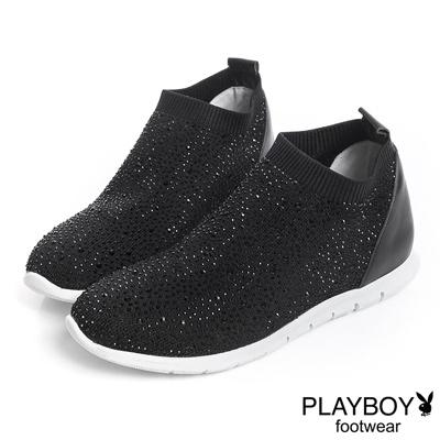 PLAYBOY 浪漫銀河 美鑽襪套式休閒鞋-黑(女)