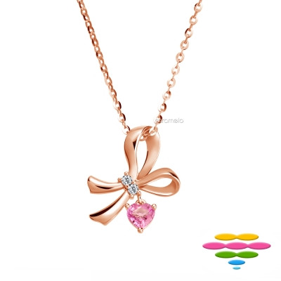 彩糖鑽工坊 14K 愛心粉紅寶石&鑽石項鍊 玫瑰金蝴蝶結項鍊 蘿莉塔系列