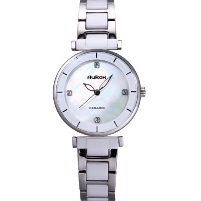 AuRox歐銳時 都會雅漾陶瓷不袗石英錶(AR 0524 -時尚白)-  34 mm