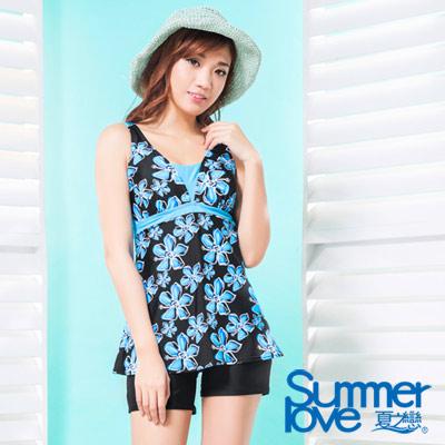 夏之戀SUMMERLOVE 比基尼泳裝 假二截連身四角 熱帶風藍色大花