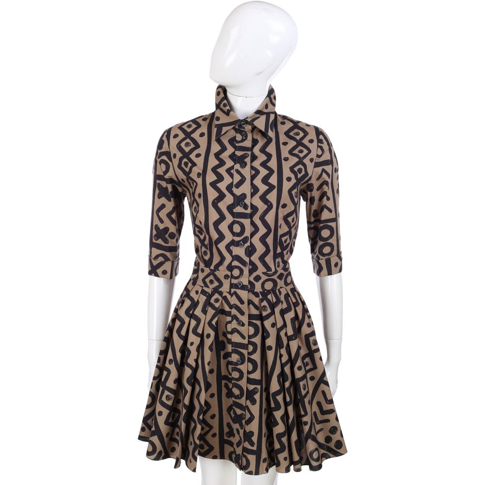 MOSCHINO 駝/黑色幾何塗鴉全開釦式襯衫式七分袖洋裝