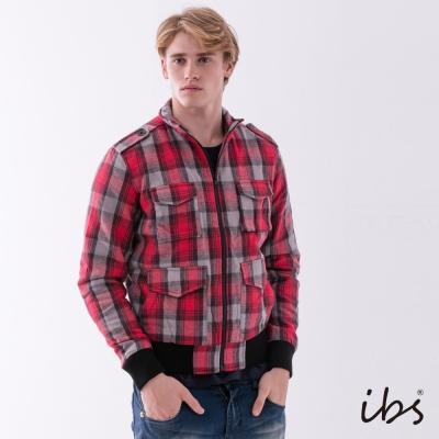 IBS 經典格紋休閒夾克-紅色-男