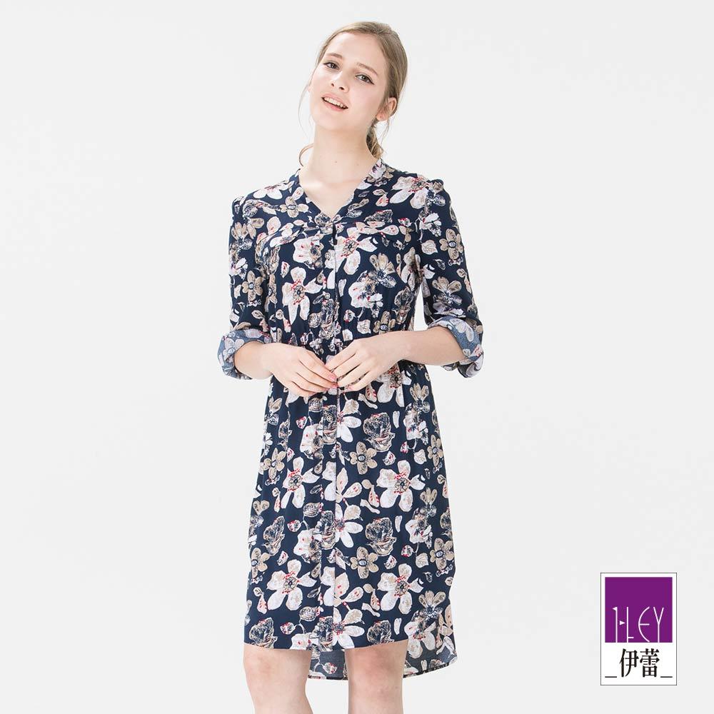 ILEY伊蕾 V領跳色印花長版洋裝(藍)