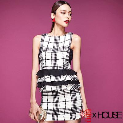 優雅名媛格紋荷葉邊背心裙 (黑色)-糖 x House
