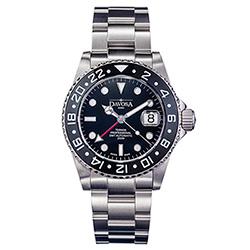 DAVOSA Ternos TT GMT 雙時區陶瓷圈200M潛水錶-黑/42mm