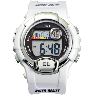 FEMA 亮彩實用 計時鬧鈴休閒錶(P170G)-白/37mm