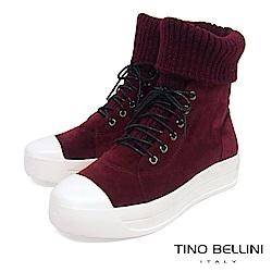 Tino Bellini皮革MIX毛線綁帶厚底休閒靴_ 酒紅