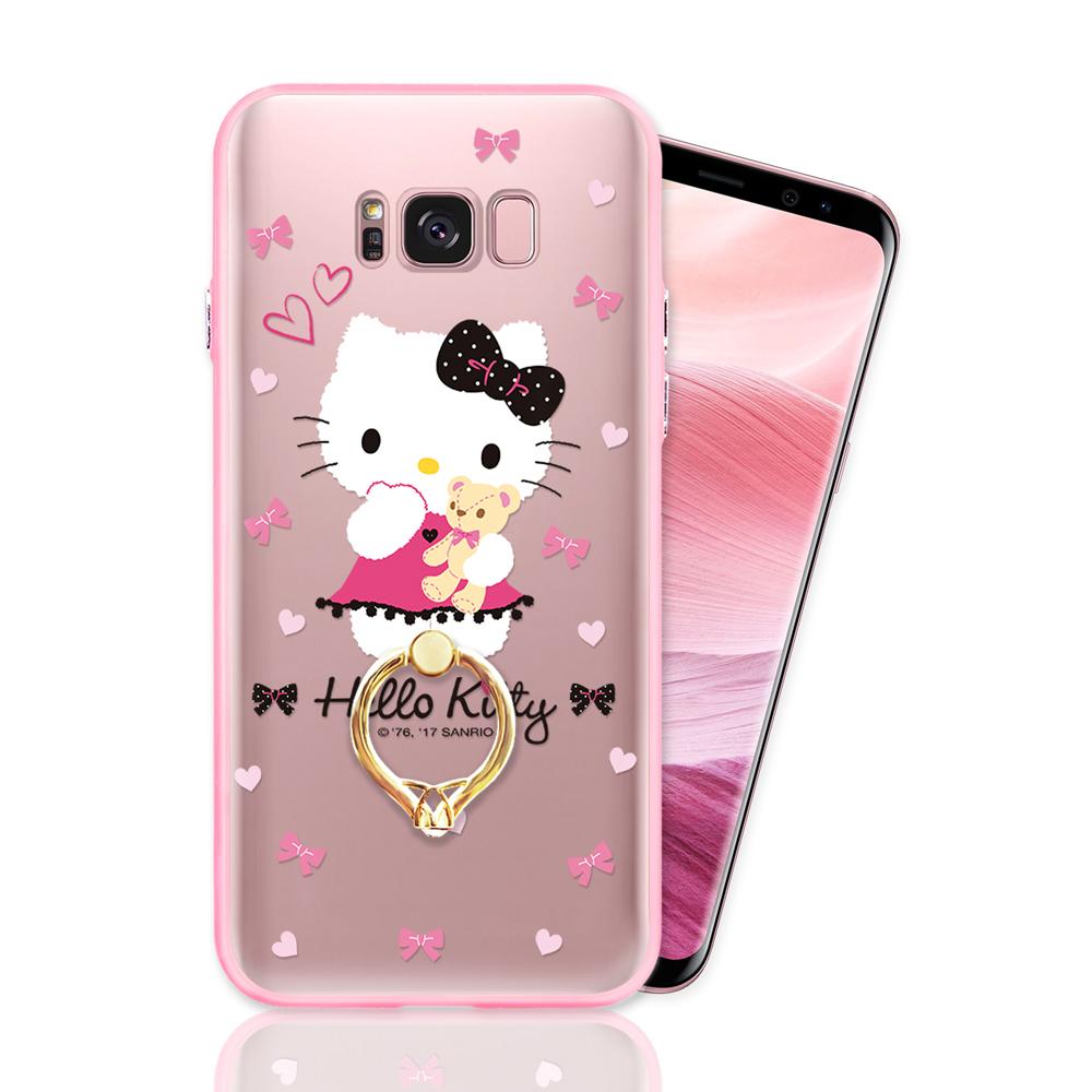 三星 S8 Plus 正版授權 Hello Kitty凱蒂貓指環扣支架手機殼-甜蜜款