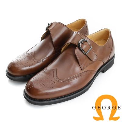 GEORGE 喬治-避震系列 全真皮金屬飾扣直套式牛津鞋(男)-棕色