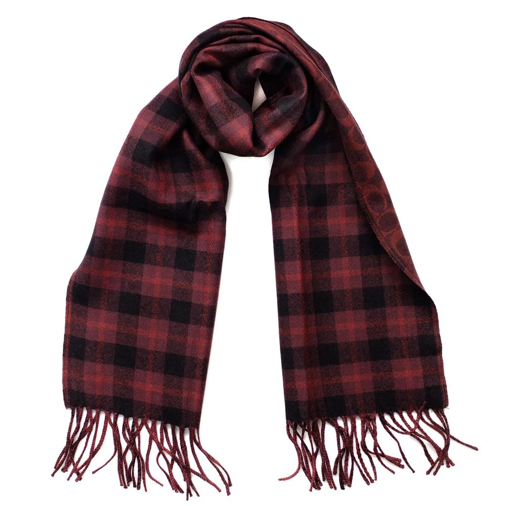 COACH深酒紅格紋C Logo羊毛保暖長圍巾(183x30.5)COACH