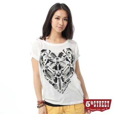 5th-STREET-骷髏植絨印花T恤-女-米白色