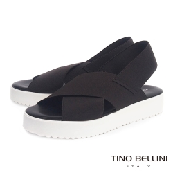 Tino Bellini 義大利進口交叉繃帶厚底涼鞋_深咖