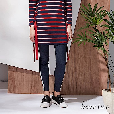 beartwo 鉚釘運動風彈性窄管褲(三色)