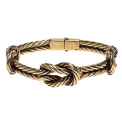 GUCCI 925純銀復古黃銅色繩結造型壓釦金屬手鐲/手環