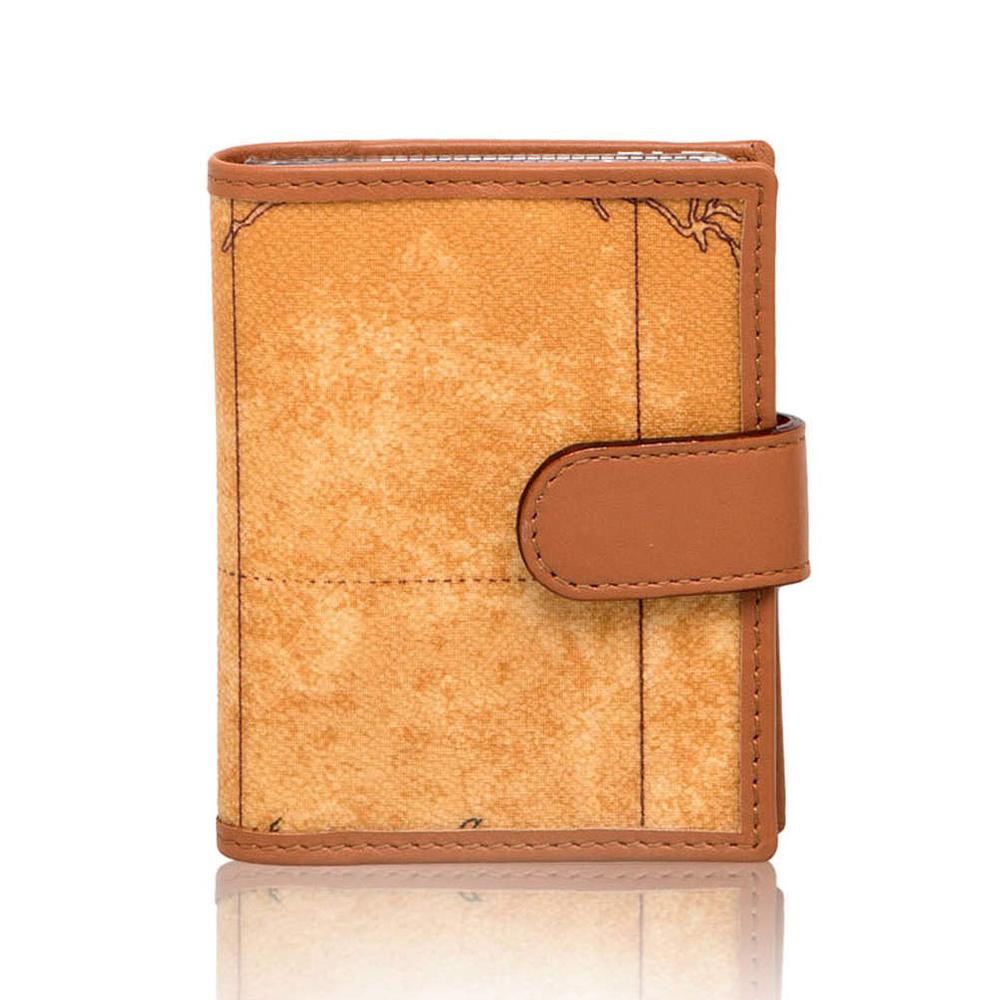 Alviero Martini 義大利地圖包 扣式證件信用卡套-地圖黃