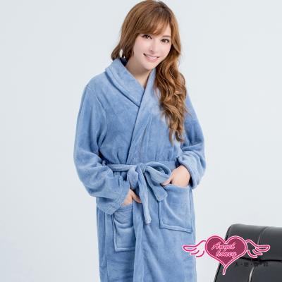 保暖睡袍 美夜舒眠 柔軟珊瑚絨一件式綁帶連身睡衣(藍灰F) AngelHoney天使霓裳