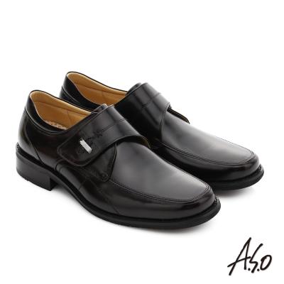 A.S.O 勁步雙核心 真皮鏡面魔鬼氈奈米紳士鞋 酒紅色