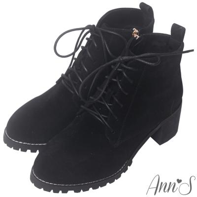 Ann'S英倫風-多孔綁帶圓頭粗跟短靴-黑