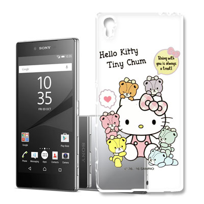 Hello Kitty 索尼 Z5 Premium 浮雕彩繪透明軟殼(熊好朋友)