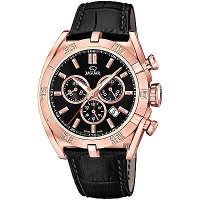 JAGUAR積架 EXECUTIVE 計時手錶-黑x玫塊金框/45.8mm